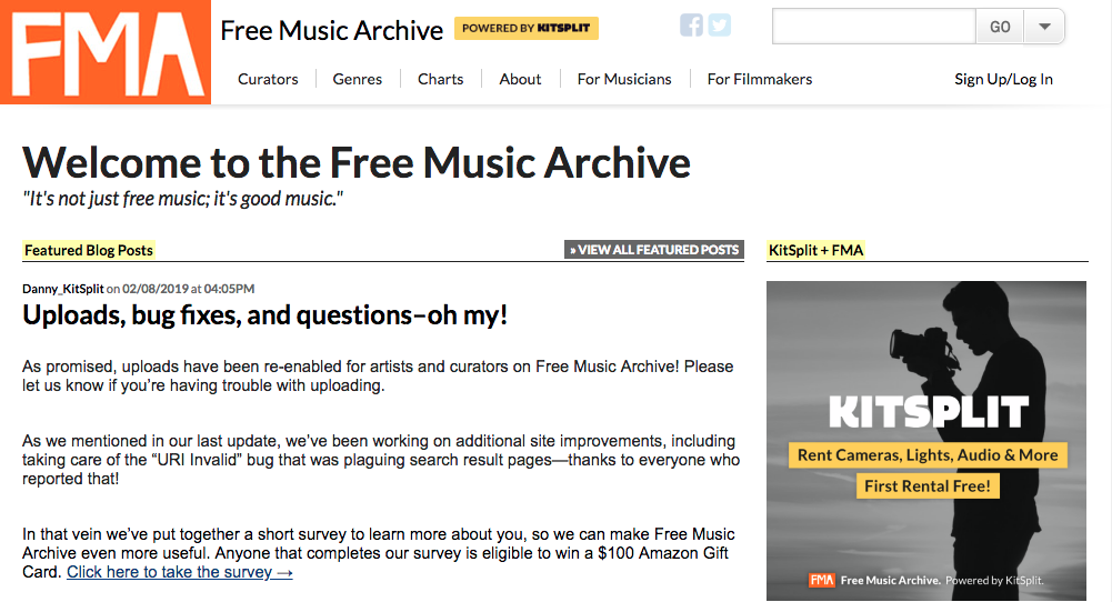 A screenshot of Free Music Archives website